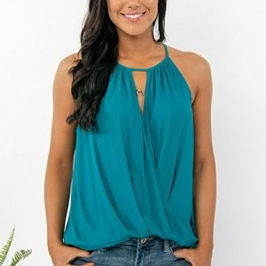 Lush Ladies teal tank with draped waist